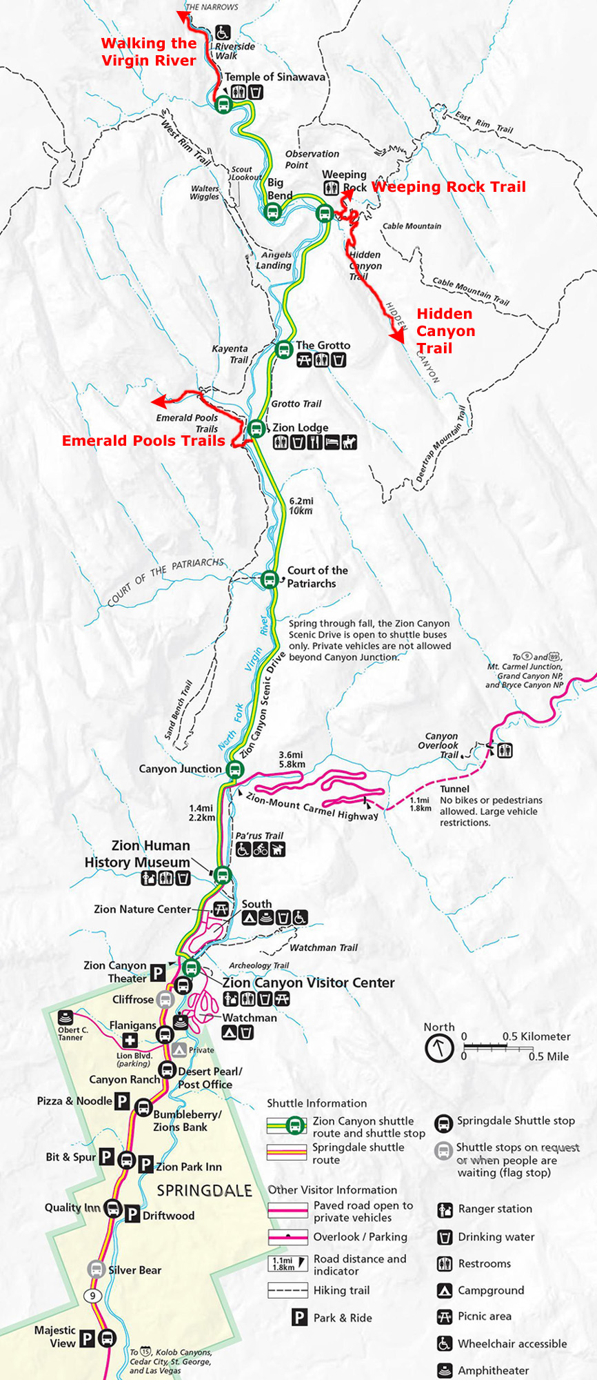 If You Haven T Been To Zion National Park Yourself Then You May Appreciate Having One Of The Park Maps Handy Using It You Can Follow Along With Us On The