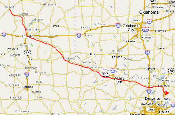 From Dalhart We Continue On Us87 To Amarillo Get On Interstate 40 For A Short Ways And Then Angle Off Southeast On Us Highway 287