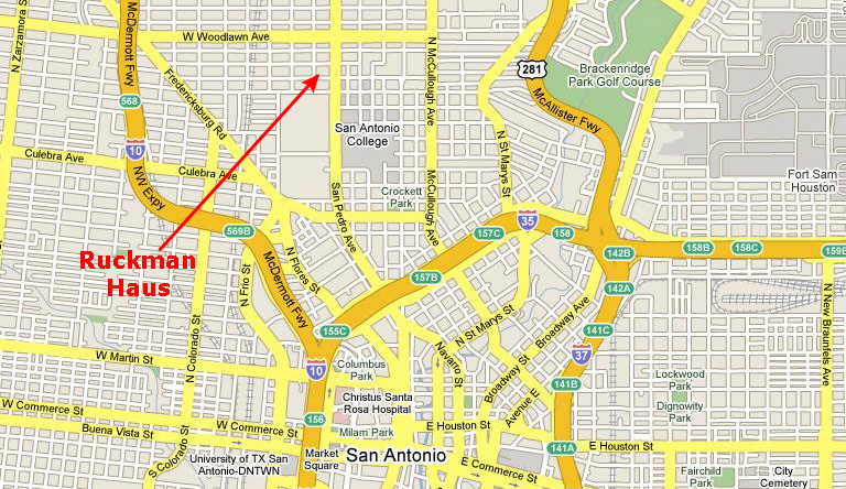 Ruckman Haus -San Antonio TX Bed and Breakfast- Maps and Directions